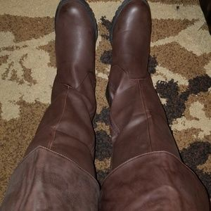 Shoes - Brown Thigh Studded Back Boots